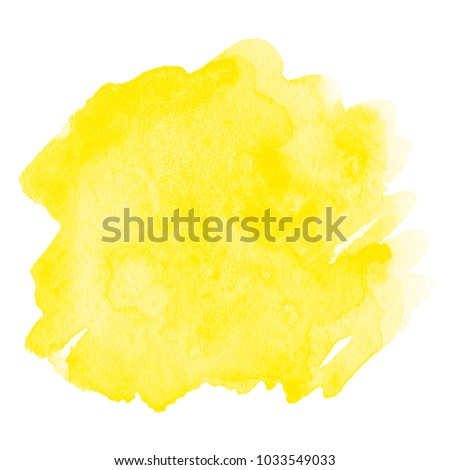 Watercolor yellow stain isolated - Shutterstock ID 1033549033