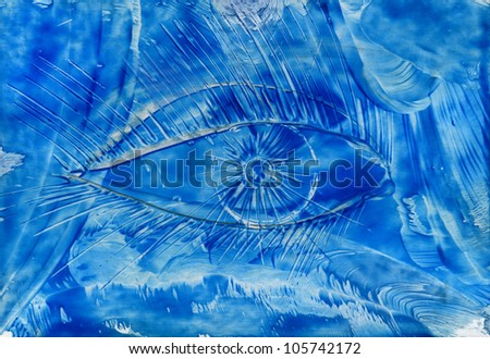 watercolors abstract blue background with eye