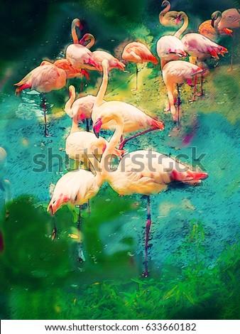 watercolors painting - flamingo birds