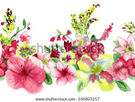 watercolors red and yellow flowers on white background