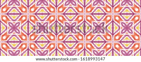Watercolour endless pattern. Endless tiled watercolor texture. Boho watercolor motif. Red background. Japanese ink print. Endness mosaic. Tribal geometric background.