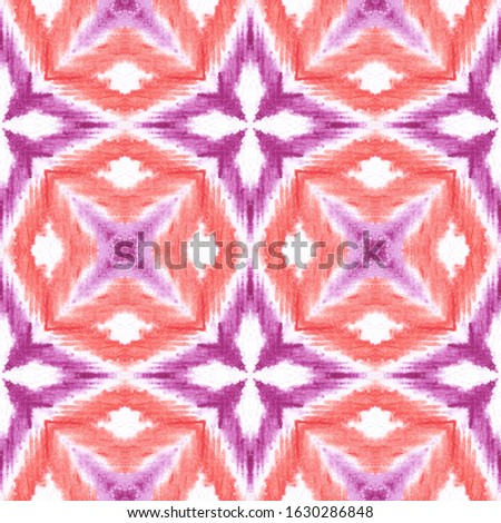 Watercolour endless pattern. Endless tiled watercolor texture. Boho watercolor motif. Red background. Japanese ink print. Endness mosaic. Tribal colorful geometric background.