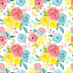 watercolour floral pattern, delicate flowers, yellow, blue and pink flowers, cute colorful floral abstract print