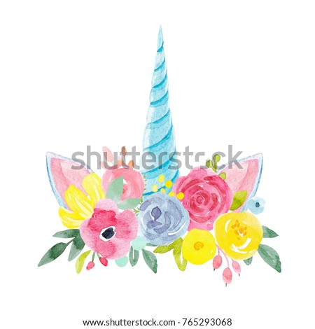 Shutterstock watercolour floral print, delicate flowers, yellow, blue and pink flowers, greeting card template. blue unicorn horn and ears