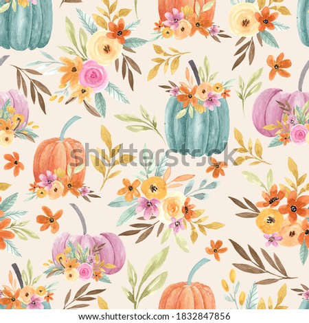 watercolour floral pumpkin seamless repeat pattern, in orange, blue and purple on a white background, perfect for scrapbooking, paper crafts