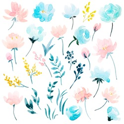 watercolour floral  set , delicate flowers, yellow, blue and pink flowers, greeting card template