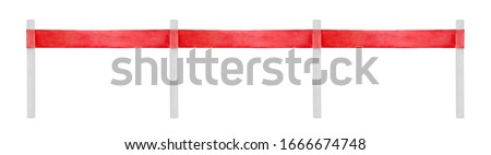 Watercolour illustration of long festive barrier with beautiful red ribbon attached to silver poles. Hand drawn water color sketchy painting, isolated clip art detail for creative design decoration.