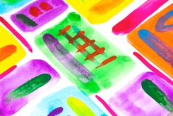 Watercolour Multicolour Rainbow Paint Vibrant Splatters and Drips on a White Background