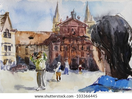 Watercolour of Old City of Prague: churches, old square, roofs, tiurists taking photos