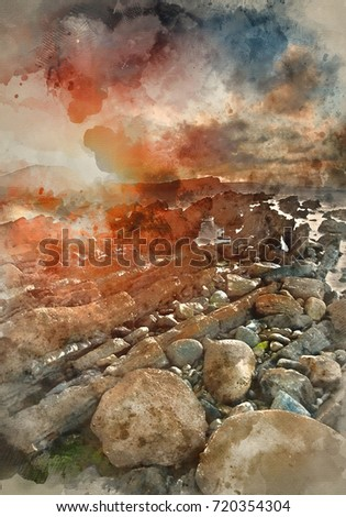 Stock Photo Watercolour painting of Beautiful sunrise landscape over Mupe Bay on Jurassic Coast in Dorset, England