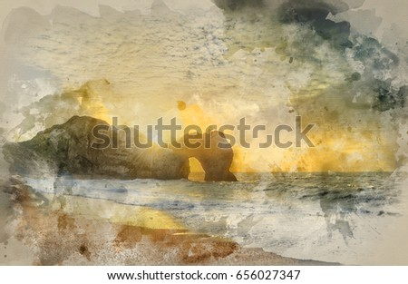 Stock Photo Watercolour painting of Beautiful sunrise over ocean with rock stack in foreground