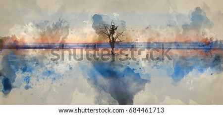 Watercolour painting of Conceptual fine art image of tree reflected in still waters