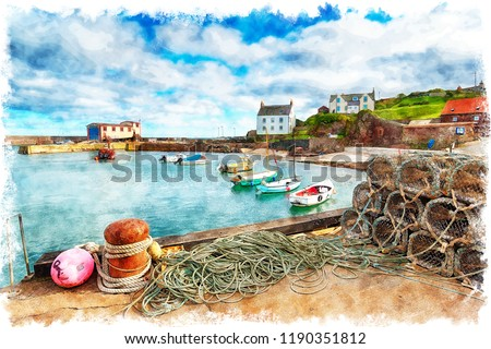 Watercolour painting of the harbour at St Abbs, a pretty fishing village near Eyemouth on the east coast of Scotland