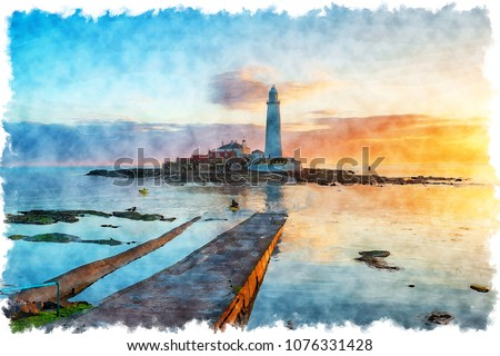 Watercolour painting of the lighthouse at sunrise on St Mary's Island at  Whitley Bay in Tyne and Wear on the Northumbria coast