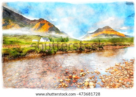Watercolour painting of the mountain tops at Glencoe in the Scottish Highlands