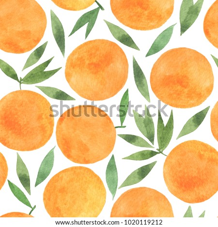 Watercolour seamless pattern. Oranges and leaves