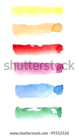 Watercolour strokes over white