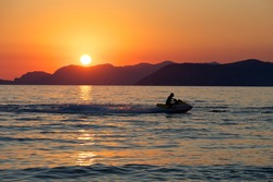 Watercraft Sunset in the sea,Italy