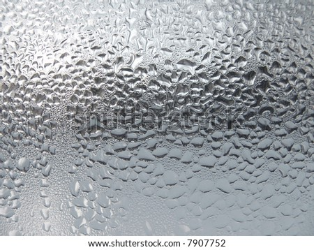 Waterdrop Close-up clear drops of water on window glass surface