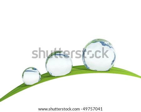 Waterdrop on a blade of grass. - stock photo