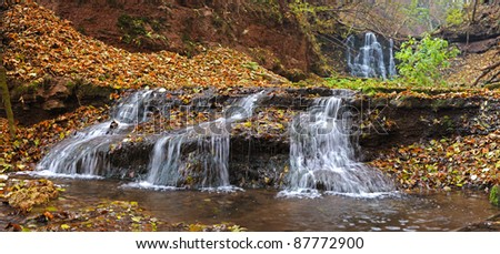 Waterfall and blue stream in the