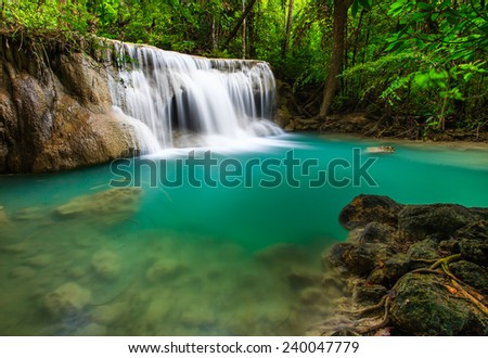 waterfall and blue water  huay...