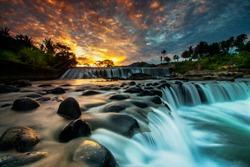 waterfall and morning sun