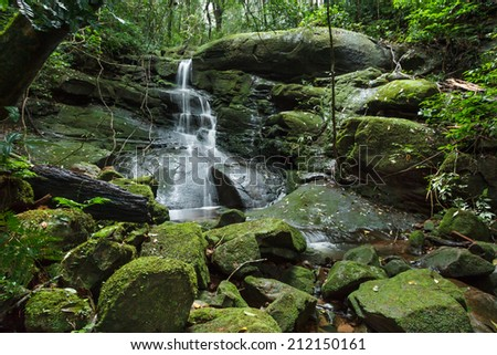 Waterfall and moss cover on stone in jungle.