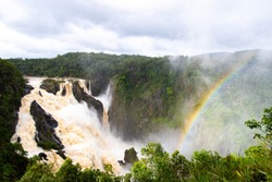 Waterfall and rainbow at Barron Falls near Cairns, Australia