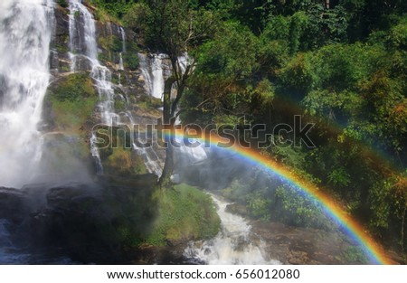 Waterfall and rainbow at Doi Inthanon National Park,Chiang mai,Thailand