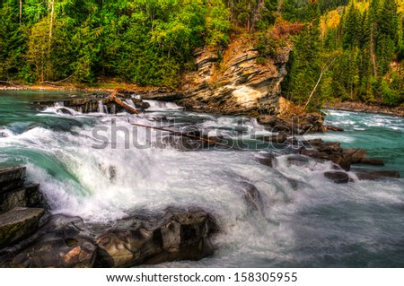 Waterfall and river views of the scenic Frasier River, Mount Robson Provincial Park, British Columbia Canada #158305955