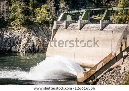 waterfall at a reservoir