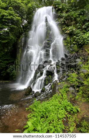 Waterfall at Azores (Achada/Sao Miguel Island). - stock photo