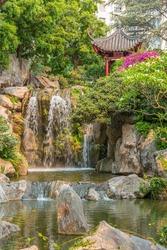 Waterfall at Chinese garden of friendship in Sydney, Australia