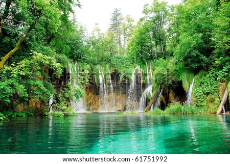 Waterfall at Plitvice national park - stock photo