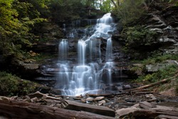 Waterfall at Ricketts Glen State Park, Benton, PA, in crisp autumn weather, Erie Falls 47' landscape
