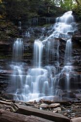 Waterfall at Ricketts Glen State Park, Benton, PA, in crisp autumn weather, Ganoga Falls, 94' portrait