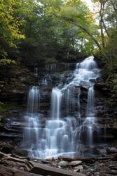 Waterfall at Ricketts Glen State Park, Benton, PA, in crisp autumn weather, Gonaga Falls 94' portrait