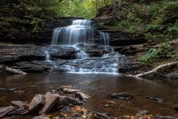 Waterfall at Ricketts Glen State Park, Benton, PA, in crisp autumn weather, landscape of Onondaga Falls 15' falls