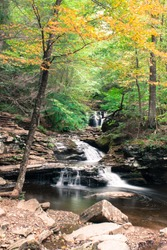 Waterfall at Ricketts Glen State Park, Benton, PA, in crisp autumn weather, portrait of Waters Meet point