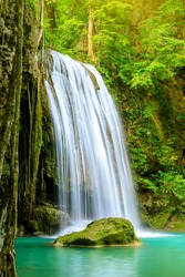 Waterfall cliff, third level, Erawan National Park, Kanchanaburi, Thailand