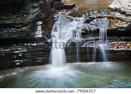 waterfall closeup in woods with rocks and stream in Watkins Glen state park in New York State