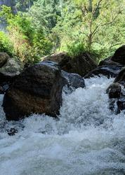 Waterfall | Closeup of water flowing through the rocks | Diyaluma Falls - Srilanka