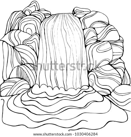 waterfall coloring page for...