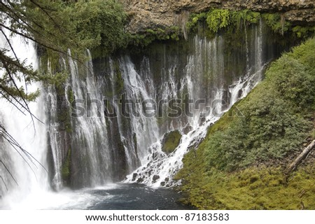 Waterfall: Detail of Burney Falls in California's McArthur-Burney Falls Memorial State Park located in Shasta County. Spring water flows out of fissures in the volcanic rock formation.