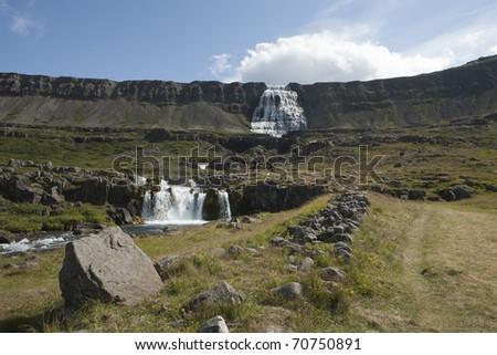 Waterfall Dynjandi  in Iceland