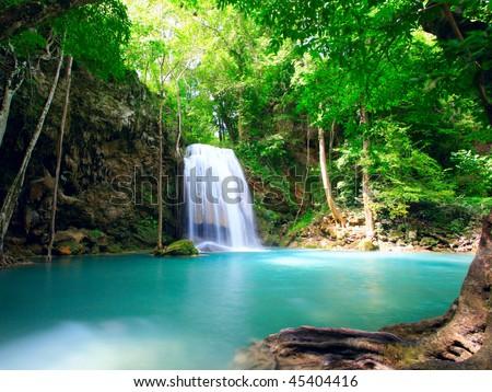Waterfall Eravan, in Kanchanabury, Thailand