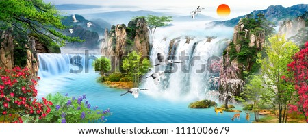 Waterfall, forest, flying birds
