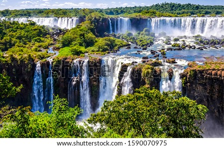 Waterfall forest river landscape. Mountain forest river waterfall view. Forest river waterfall panorama. Mountain waterfall landscape
