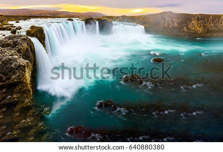 Waterfall Godafoss in Iceland. Waterfall of God in Iceland landscape. Mountain waterfall landscape